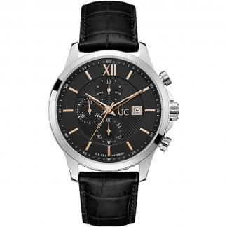 Men's Executive Black Chronograph Leather Watch