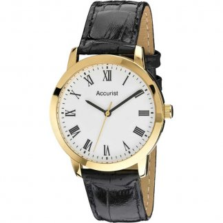 Gent's Gold Plated Black Leather Quartz Watch