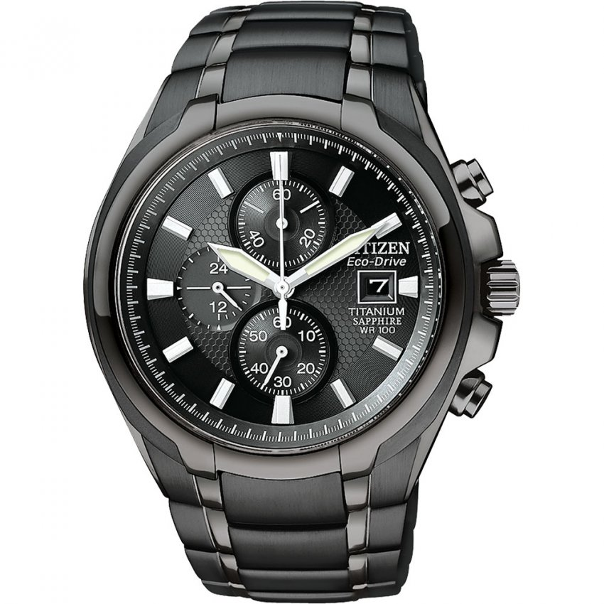 Citizen Gents Black PVD Titanium Bracelet Chronograph Watch CA0265-59E