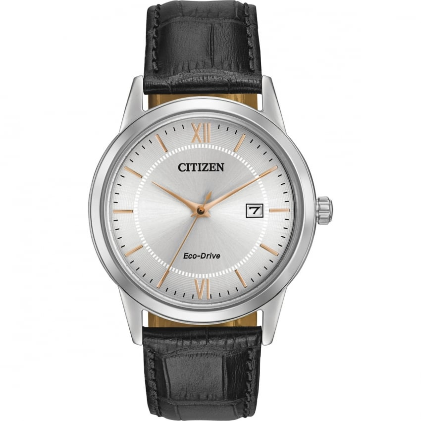 Citizen Gents Classic Black Strap Eco-Drive Watch AW1236-03A