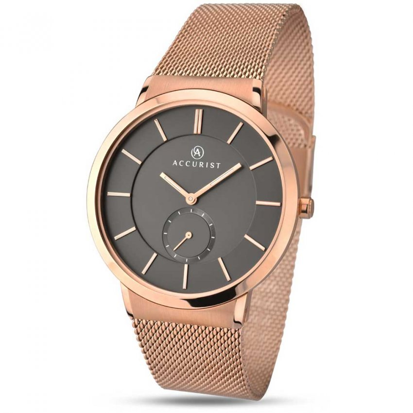 Accurist Gent's Classic Rose Gold Mesh Bracelet Watch 7016