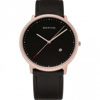 Gent's Classic Rose PVD Black Leather Strap Watch