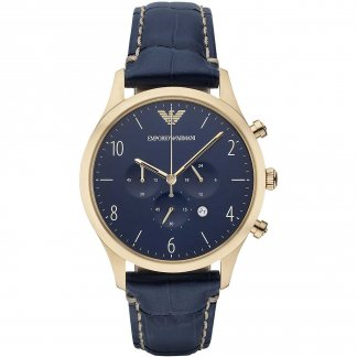 Gent's Blue Leather Chronograph Watch AR1862