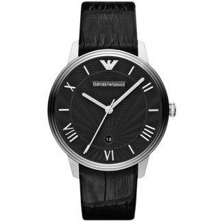 Gents Black Leather Strap Watch AR1611