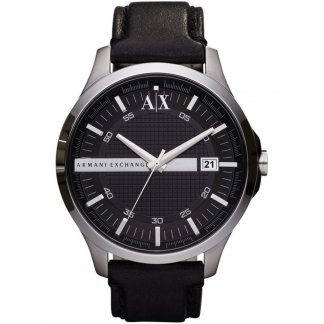 Gent's Black Leather Strap Watch AX2101