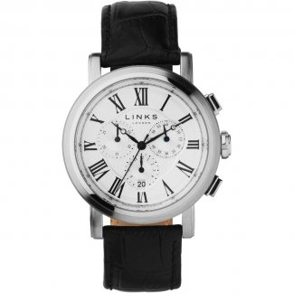 Gent's Richmond Chronograph Black Leather Watch 6020.1129