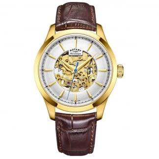 Gents Mecanique Gold Skeleton Dial Automatic Brown Leather Watch