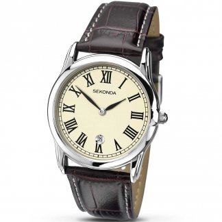 Gent's Brown Leather Classic Quartz Watch