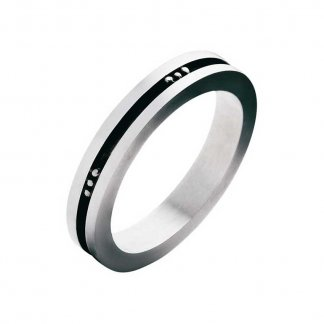 Gent's Silver And Black Enamel Fusion Ring (Size R)