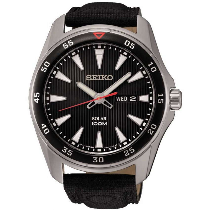 Seiko Gent's Solar Black Canvas Day/Date Watch SNE393P2