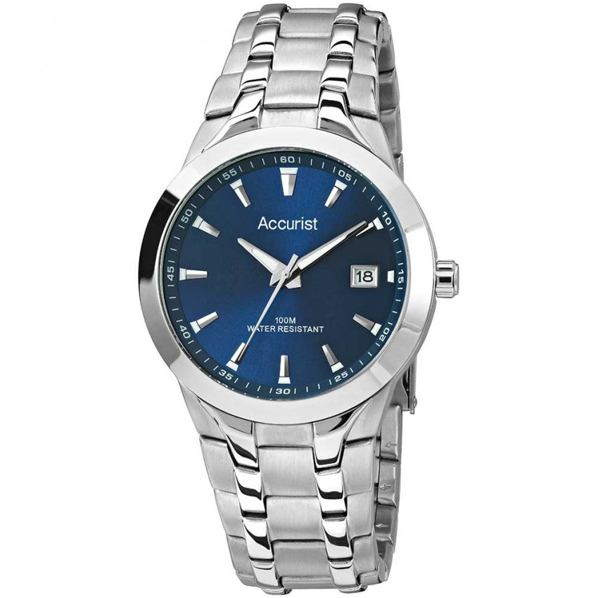 Accurist Gent's Stainless Steel Blue Dial 100M Watch MB860N