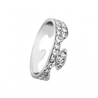 18ct White-Gold Diamond Pavé Set Fusion End Ring (Size N)