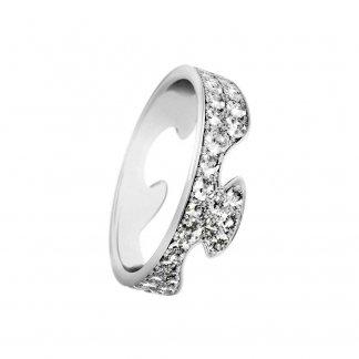 18ct White-Gold Diamond Pavé Set Fusion End Ring (Size N) 3569268