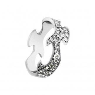 18ct White-Gold Pavé Set Diamond Fusion Centre Ring (Size M) 3569286