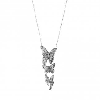 Askill Oxidised Silver Butterfly Pendant