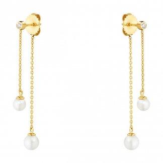 Diamond & Pearl Neva Double Drop Earrings 3519678