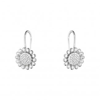Diamond Silver Sunflower Earrings
