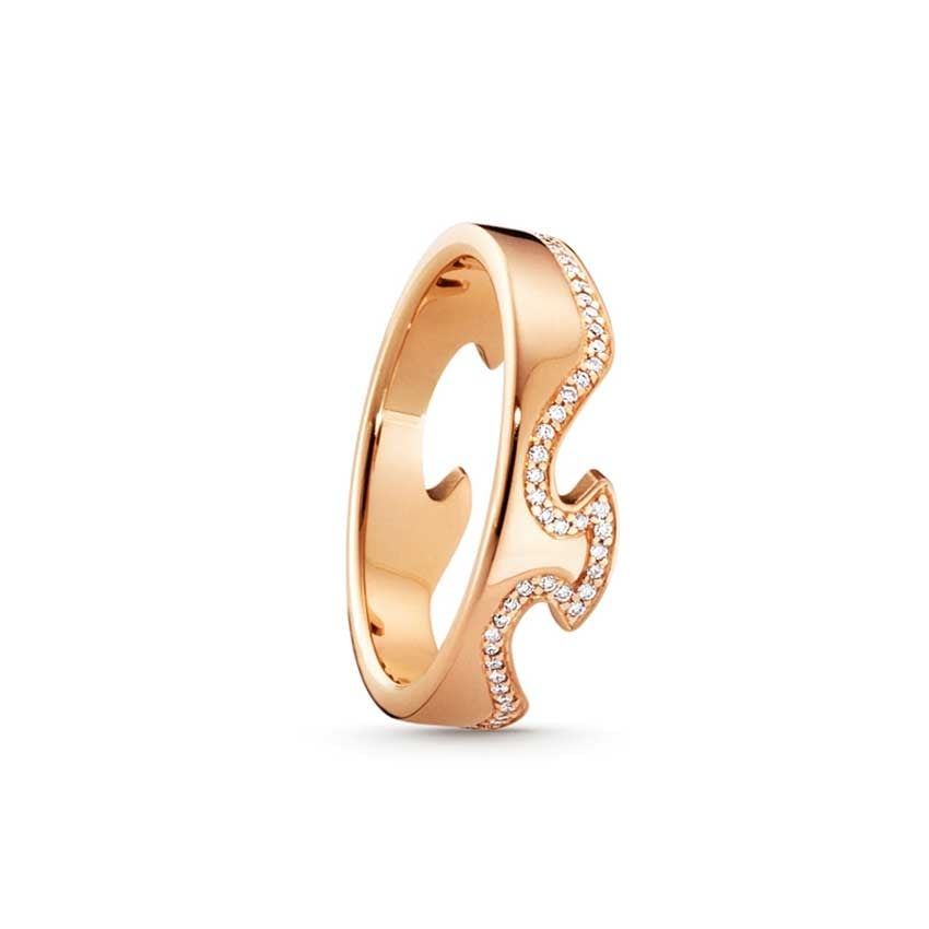 Georg Jensen Fusion Rose Gold and Diamond End Ring - Size 55 3570888