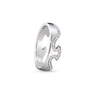 Fusion White Gold and Diamond End Ring - Size 55