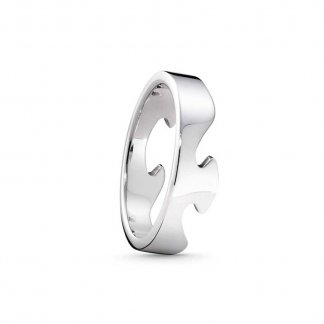 Gent's Fusion End Ring In 18ct White-Gold (Size S)