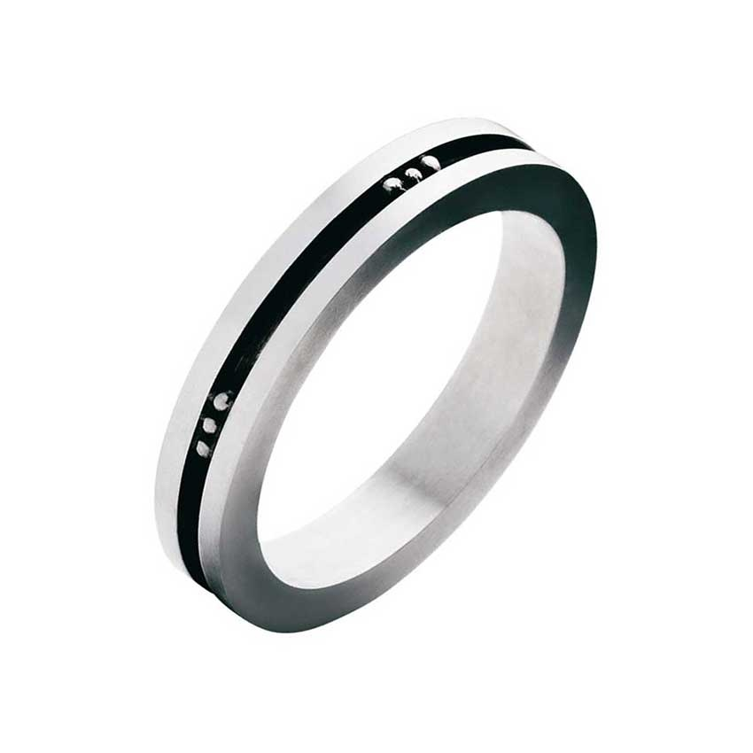 Georg Jensen Gent's Silver And Black Enamel Fusion Ring (Size R) 3550772