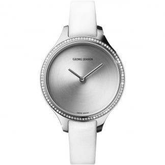 Ladies Diamond Concave 30mm White Leather Watch
