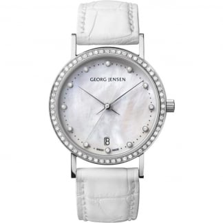 Ladies Diamond Koppel 32mm White Alligator Strap Watch