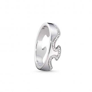 18ct White-Gold Diamond Fusion End Ring (Size N) 3570868