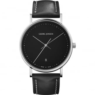 Men's Koppel 38mm Black Leather Quartz Watch