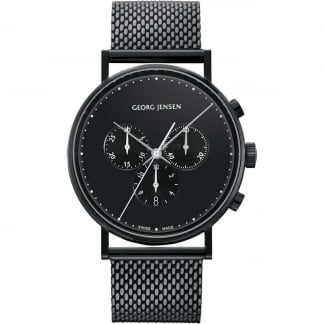 Men's Koppel 41mm Black Mesh Chronograph Watch