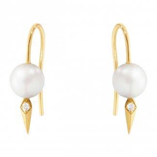 Neva Diamond & Pearl Yellow-Gold Earhooks 3519859