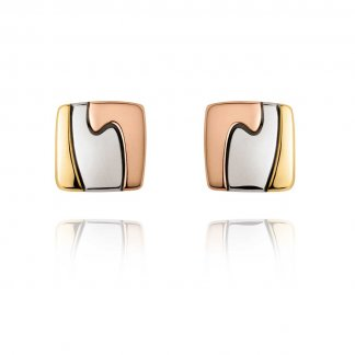 Tri-Colour Gold Fusion Stud Earrings