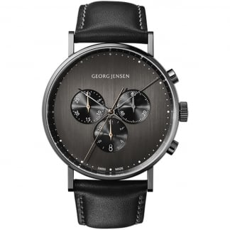 Men's Koppel Black Dial Leather Chronograph Watch