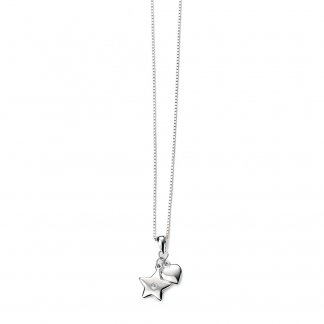 "Girl's Double Star & Heart Pendant with 14"" Silver Chain P4022"