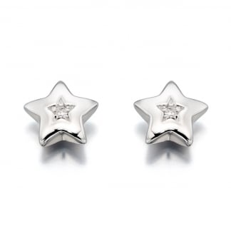 Girl's Mini Diamond Star Noor Earrings