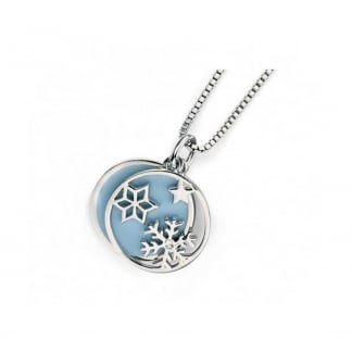 Girls Silver and Blue Snowflake Necklace