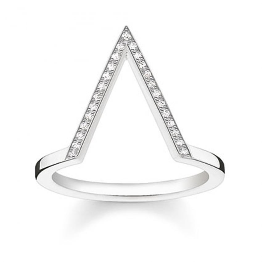 Thomas Sabo Glam and Soul Large Diamond Triangle Ring D_TR0020-725-14