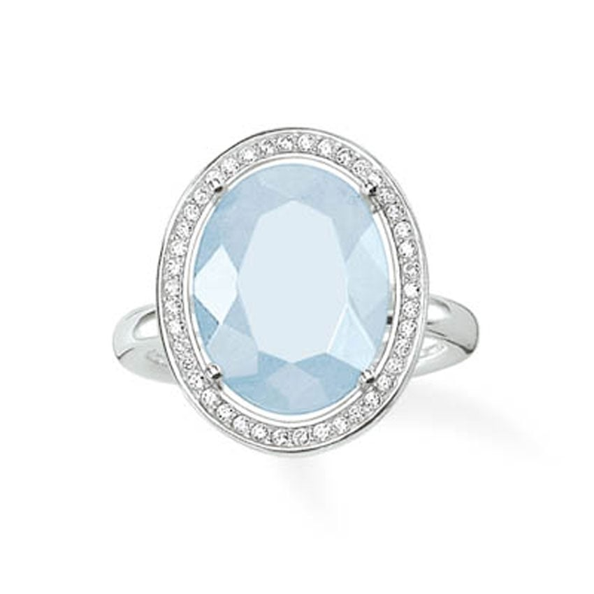 Thomas Sabo Glam and Soul Large Silver and Aqua Oval Ring TR2044-694-31