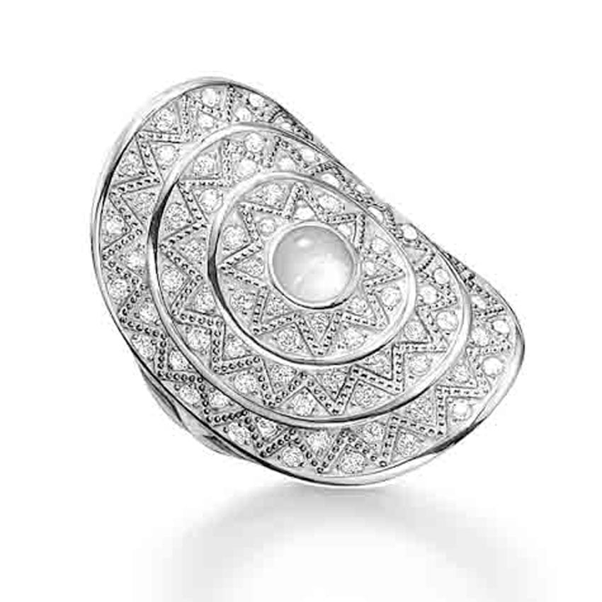 Thomas Sabo Glam and Soul Large Silver and Quartz Cocktail Ring TR2053-690-14