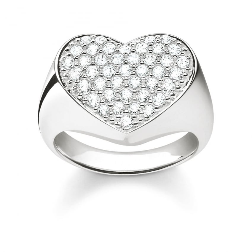 Thomas Sabo Glam and Soul Large Stone Set Heart Ring TR2084-051-14