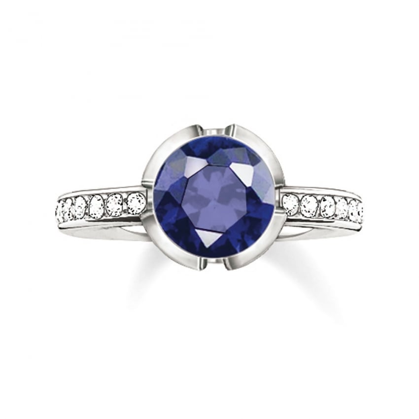Thomas Sabo Glam and Soul Silver and Dark Blue Ring TR2035-050-32