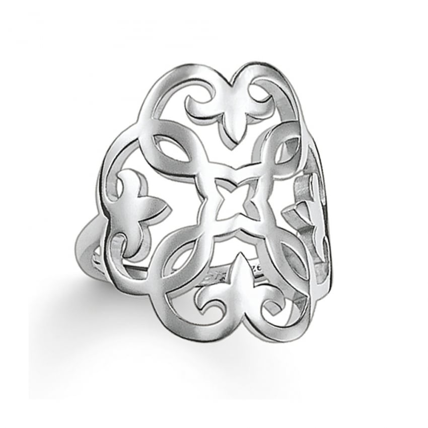 Thomas Sabo Glam and Soul Silver Ornate Openwork Ring TR1988-001-12
