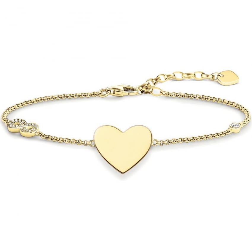 Thomas Sabo Gold Heart with Infinity Engraveable Bracelet A1486-414-14