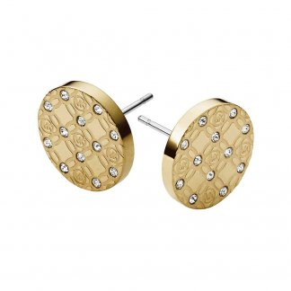 Gold Heritage Monogram Crystal Set Stud Earrings