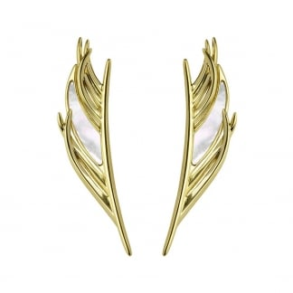 Gold & Mother of Pearl Feather Earrings