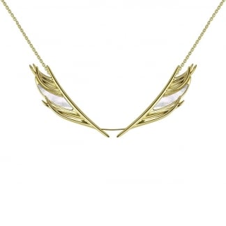 Gold & Mother of Pearl Feather Necklace