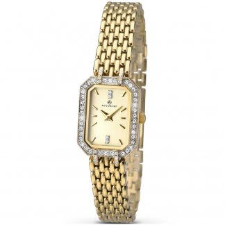Ladies Crystal Set Gold Plated Quartz Watch