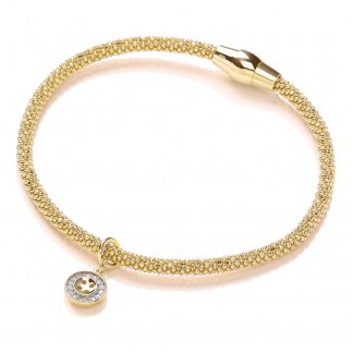 Gold Plated Magnetic Joie Bracelet with Button Charm