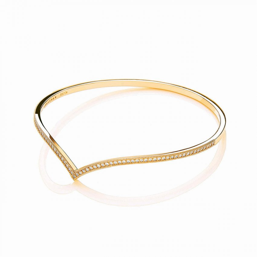 Bouton Gold Plated Stone Set Wishbone Bangle BBA002