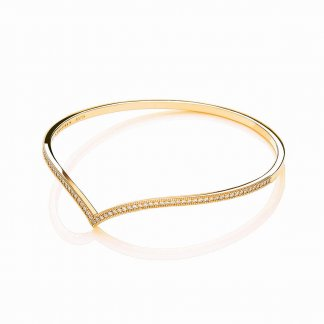 Gold Plated Stone Set Wishbone Bangle